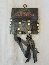 Ann Summers Suspender Clips Double-straps Black With Gold Studs One Size