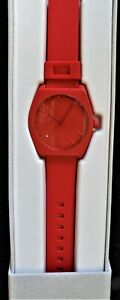 ADIDAS PROCESS-SP1 ALL RED  UNISEX SILICONE BAND WATCH Z10191-00 NWT