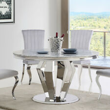 Amalfi Grey Marble & Chrome 1.3m Round 5 Piece Dining Table Set (Grey Chairs)