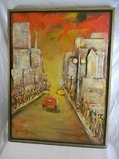 "Great orig. 1960's signed Juan Mario Patterson ""New York(collage)"" Oil / Board"