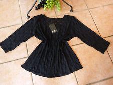 BORIS INDUSTRIES Shirt Tüll 44 46 48 NEU! schwarz Ausbrenner-Kreise LAGENLOOK