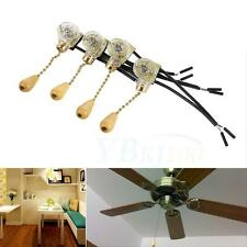 4Pcs/Set Ceiling Fan Lamp Wall Table Floor Bedside Light Pull Chain Cord Switch