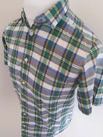 Carhartt short Sleeve Baxter Shirt Check Plaid Blue Small 38-40 Chest outdoor