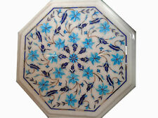 """12"""" Marble coffee Table Top Turquoise Inlaid Work For Home Furniture Decor"""