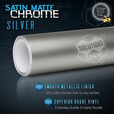 "60"" x 96"" Silver Satin Matte Chrome Metallic Vinyl Wrap Sticker Decal Air Free"