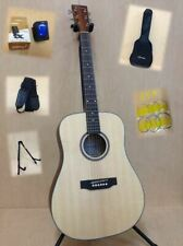 Caraya SDG-07N Solid Spruce Top Acoustic Guitar Pack+Bag,Stand,Strap-Full Kit!