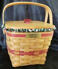 Longaberger Christmas collection 1995 Cranberry Basket Holly Liner Protector Lid