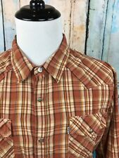 LEVIS Orange Brown Rust Plaid Check Soft Pearl Snap Western Cowboy Shirt Mens XL