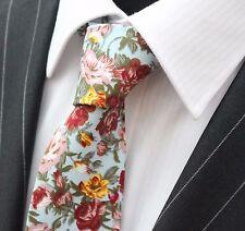 Tie Neck tie Slim Blue with Large Floral Quality Cotton T6076