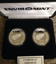 Two .999 Silver oz. Stanley Cup Champions Detroit Red Wings Coins COA Lim Editon