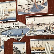Japanese Vintage Woodblock Ukiyoe Postcards on Cotton Duck