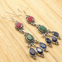925 Silver Plated Gemstones Choices Variation Earrings