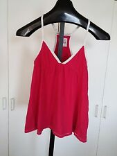 HOLLISTER LADIES BABY-DOLL TOP-JR. S-GENTLY WORN-HOT PINK-100% COTTON-COMFY KNIT
