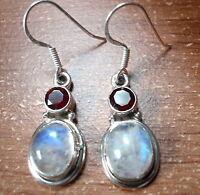 Faceted Garnet & Moonstone Sterling Silver Earrings Corona Sun Jewelry