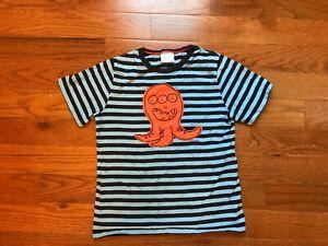 Hanna Andersson Blue Black Stripped T Shirt Orange Octopus Boys Sz 150