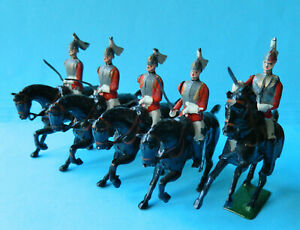 5 Vintage old Britains 54mm painted metal mounted Life Guard toy soldier figures
