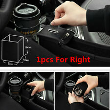 1pcs Black Leather Car Catcher Storage Box With Cup Holder Coin Box For Right