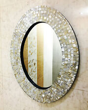 Mother Of Pearl Oval Mirror Frame Handmade Round Wall Hanging Mirror Decor