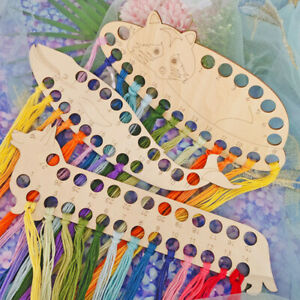 Wood Embroidery Floss Organizer Cross Stitch Thread Holder Storage DIY Sew`