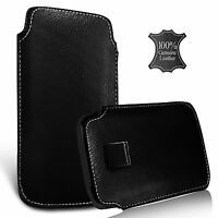 For Doogee F7 Pro - Genuine Leather Pull Tab Flip Case Cover Pouch