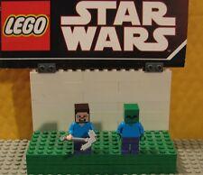 "MINECRAFT  LEGO LOT  MINIFIGURE--MINI FIG  "" LOT OF 2 -- STEVE -- ZOMBIE CREEP """