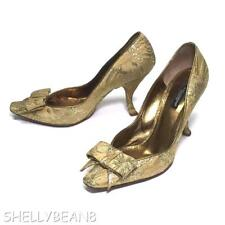 DOLCE & GABBANA BROCADE Bow Pumps CURVED Heels Shoes 38 8 7.5 GLITTERING GOLD!