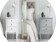 Shabby Chic 3 Drawers Wooden Bedside Table Nightstand Chest of Drawers Storage