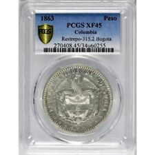 1863 Colombia Bogota Peso, PCGS XF 45