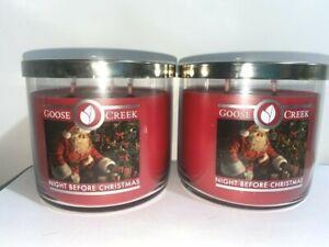 ☆NIGHT BEFORE CHRISTMAS ☆SET OF 2 GOOSE CREEK CANDLE JARS 14.5 OZ.☆FREE SHIPPING