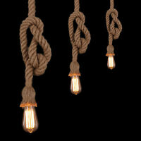 1M Loft Vintage Ceiling lamp Pendant Light Fittings Hemp Rope Chandelier E27 Top