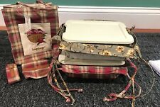 Longaberger Purse - 2 Small Serving Tray Fabric Liners - Protectors With Lids
