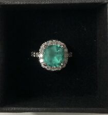 Emerald and Diamond 14K white gold ring size 6