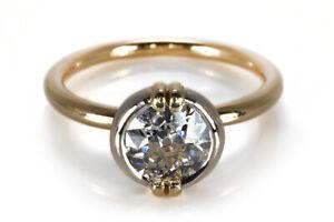 Wempe Solitär Ring Diamant ca 1,10ct J/si 750 Gelbgold Weißgold [BRORS 18355]