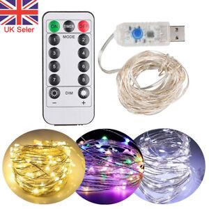 USB Plug In 50/100/200LED Fairy String Lights DIY Micro Copper Wire 8 Model Xmas