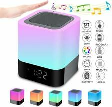 Night Light Bluetooth Speaker LED Table Alarm Clock Touch Control Bedside Lamp