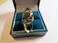 STYLISH MID CENTURY DESIGN 18ct GOLD & RUBY GEMSTONE RING - 4.6g!