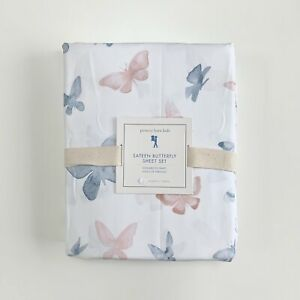 New Pottery barn Kids Sateen Butterfly Twin Sheet Set Blush pink  blue white