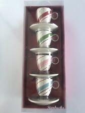 STARBUCKS 2007 Set 4 Holiday Swirl Espresso Tea Cup Saucer Set BRAND NEW IN BOX!