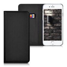 Echtleder Flip Cover Hülle Apple iPhone 7 8 Schwarz Ständer Stand Leder Case