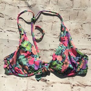 🌴 Victoria's Secret Swim Bikini Top 34C Unpadded Floral Tropical Halter Cute