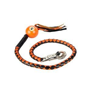 """Get Back Whip With Pool Ball 42"""" Long x 2"""" Multiple Colors Stainless Steel Clamp"""