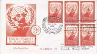 United Nations NY38 - Enveloppe 1er jour 1954 Human Rights Airmail 3c