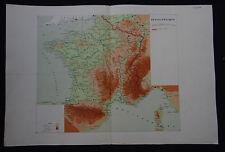 Carte FRANCE PHYSIQUE map carta cours géographie ECOLE MILITAIRE 1931