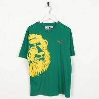Vintage 90s PUMA Big Graphic Logo T Shirt Tee Green   Medium M