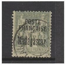 Madagascar (French Post Office) - 1895, 1f Olive-Green Opt stamp - G/U - SG 22