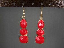 "Red faceted plastic gem stone Gold tone dangle 2.25"" long earrings lightweight"