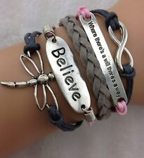 NEW Infinity Believe dragonfly Friendship Leather Charm Bracelet Silver Cute 222