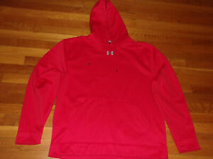 UNDER ARMOUR LOOSE FIT LONG SLEEVE RED HOODIE MENS LARGE EXCELLENT CONDITION