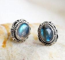 Handarbeit Ohrstecker Silber Modern Verspielt Floral Muster Labradorit Blau Oval