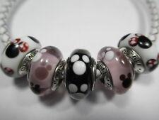 5 Authentic Pandora Silver 925 Ale Disney Minnie Mickey Bead Charm 791634 791633